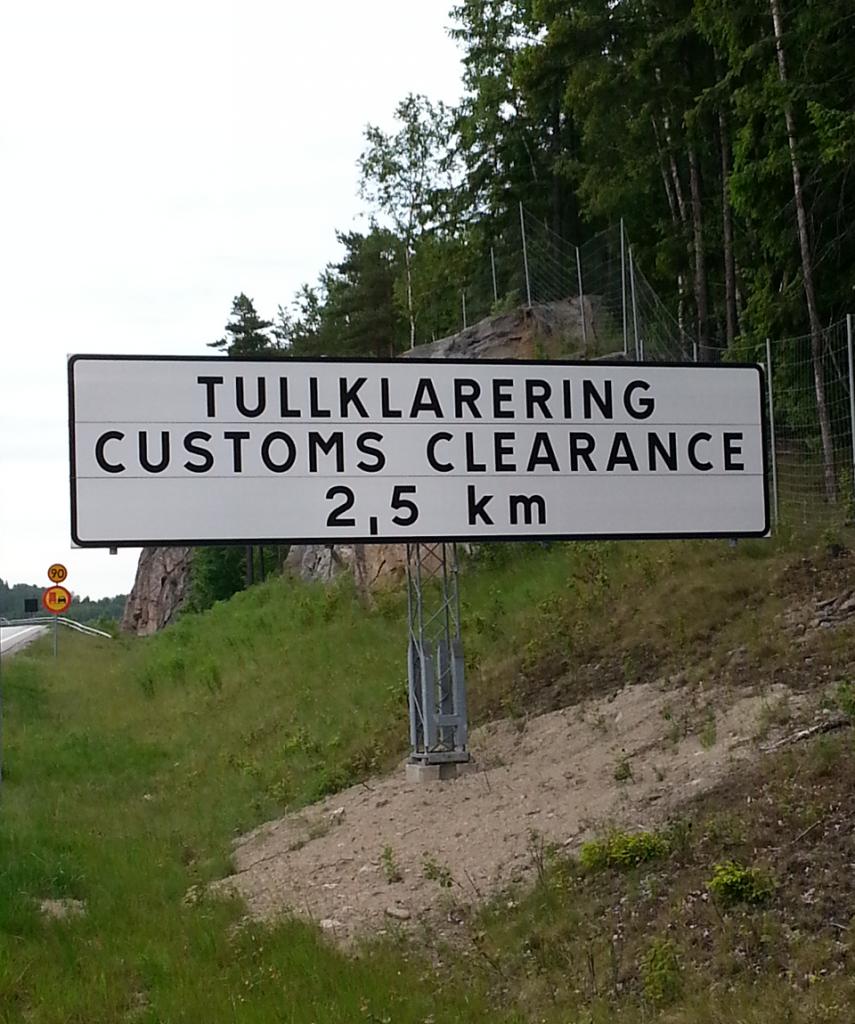 Transport naar Noorwegen, douanebord